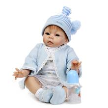 Top Quality Kids Best Gift 22 inch Boy Baby Dolls Silicone Reborn Baby Doll With Big Eyes Realistic Newborn Baby Toys For Child