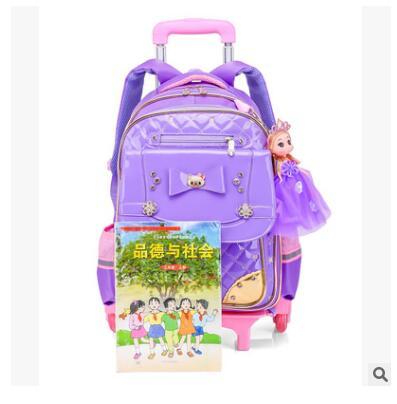 Kinder Schultasche Auf rädern Kinder gepäck Rolltaschen rädern tasche Rucksäcke für Mädchen Reisen Trolley rucksack taschen für mädchen-in Schultaschen aus Gepäck & Taschen bei  Gruppe 2