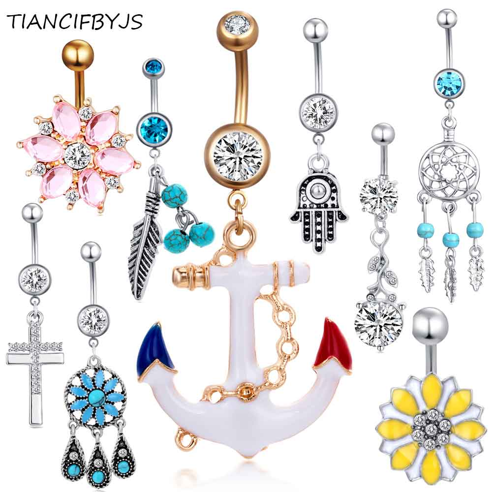 Best Price Tiancifbyjs 1pcs Steel Belly Button Rings Crystal
