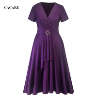 Elegant Dresses for Womens CHEAP Plus Size Dresses Middle Aged Women Fashion F0638 Purple Black Colors with Waist Button