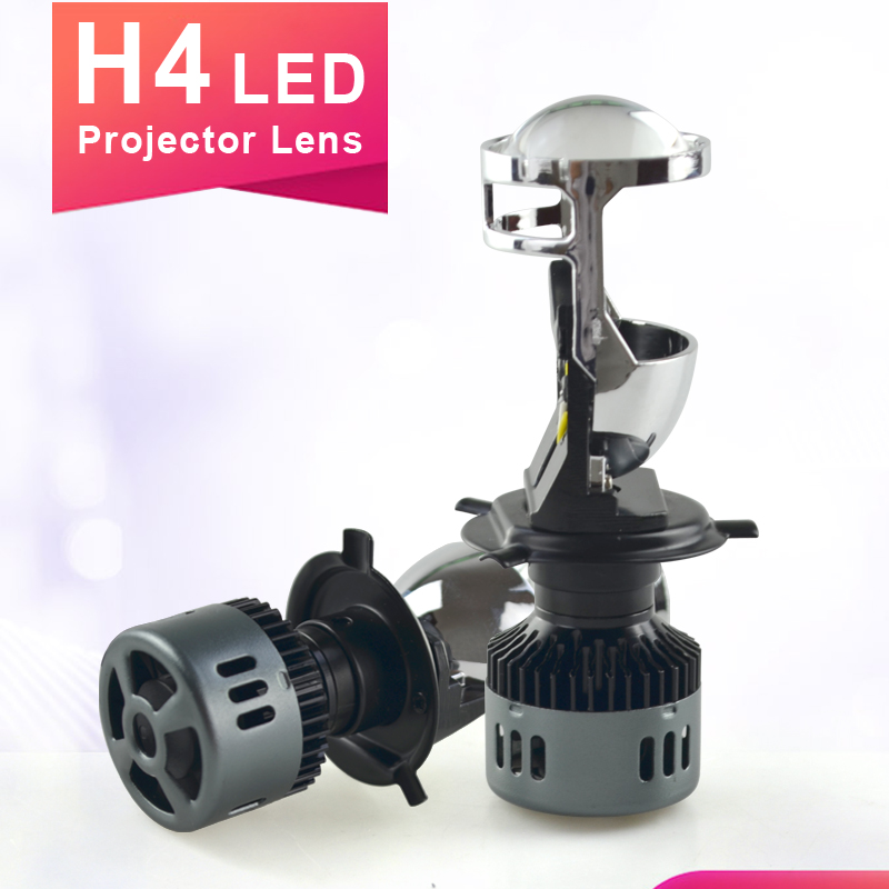2019 nouveau H4 Mini LED hi-lo avec mini projecteur lentille phares pour voiture faisceau clair modèle 12 V 6000 k résoudre le problème astigmatique