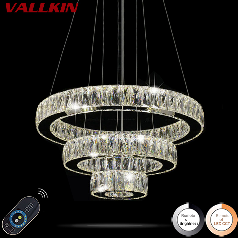 Home Decorative Lighting LED Crystal Pendant Lamp Dimmable Indoor Lamps Chandeliers Modern Lighting Fixtures with Remote Control modern crystal chandeliers home lighting decoration led pendant lamp ring hanging lamps indoor fixtures with remote control