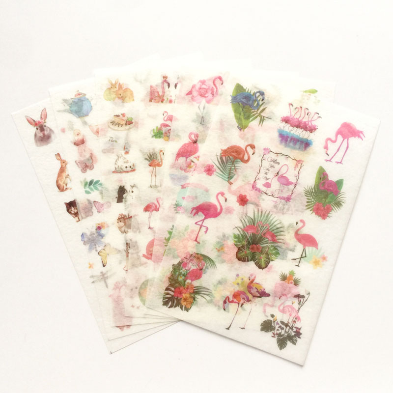 6 Sheets /Pack Fresh Flamingos & Cute Animals Washi Paper Adhesive Decorative Stickers Stick Label Decoration