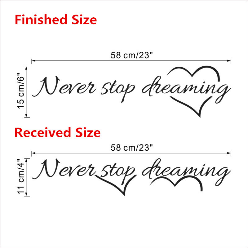 HTB1NO78JpXXXXa6XXXXq6xXFXXXN - Never stop dreaming wall sticker