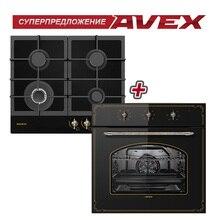Комплект встраиваемой техники: варочная панель AVEX HM 6044 RB с газ-контролем и электрическая духовка AVEX RBM 6090 W