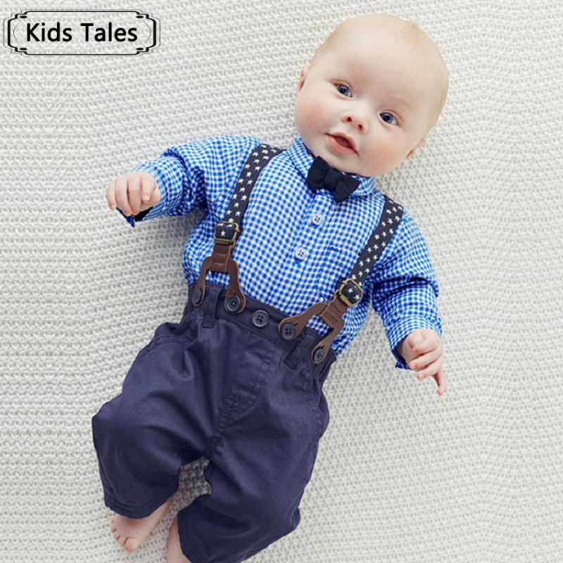 clothes for newborns childrens clothing for boys kids Gentlemens suit For newborns Plaid shirt+butterfly+pants suspendersST274