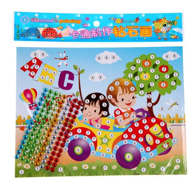 2pcs DIY Diamond Handmade Stickers Crystal Paste Painting Mosaic Puzzle Stickers Toys Children Early Education Gift Randon Color