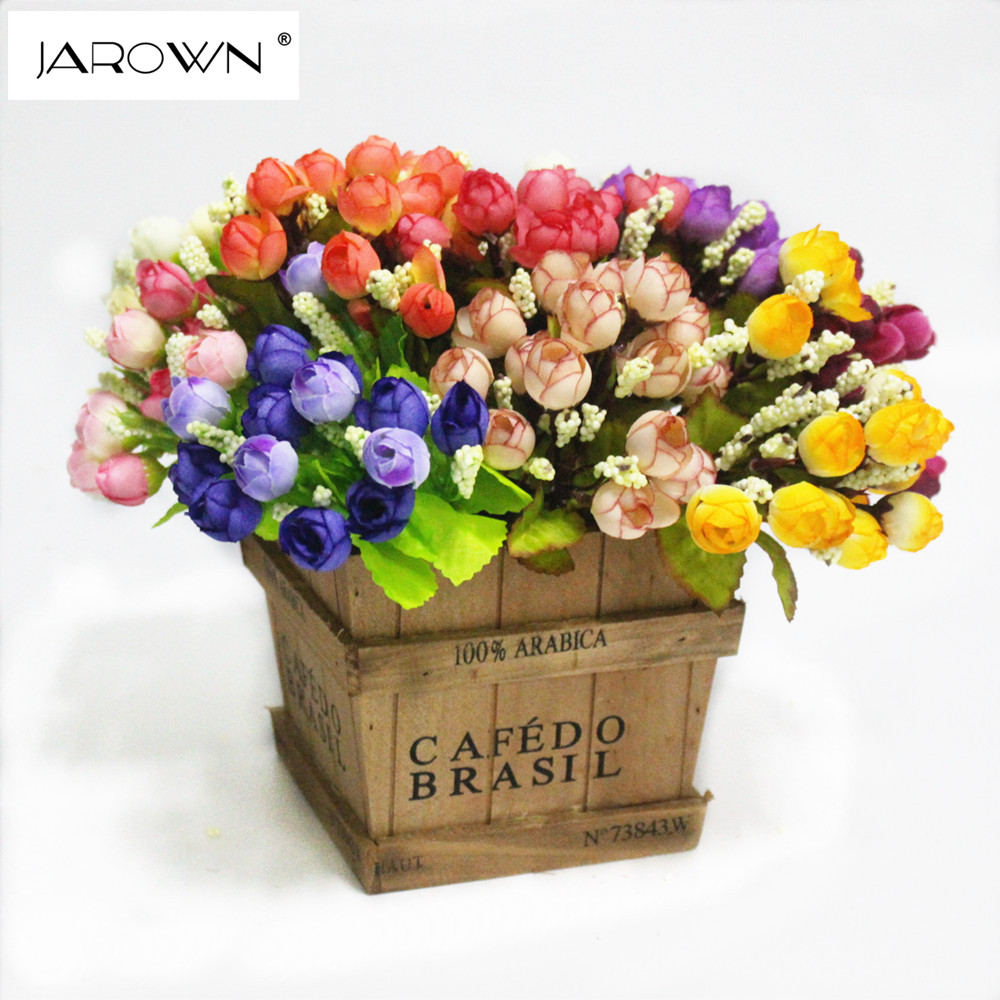 Colorful silk flowers artificial flower 15 heads mini rose for Rose home decorations