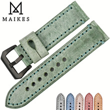 MAIKES Fashion Green Watchbands 22mm 24mm With Black Buckle Watch Accessories Watch Strap Retro Leather Watch Band For Panerai