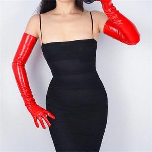 Image 2 - 70cm Extra Lange Leder Handschuhe Emulation Leder Schlanke Hand Sexy Weibliche Big Red Patent Leder Rot Frauen Handschuhe WPU09 70