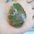 Wholesale Oval Unique Shape  Irregular Natural Unakite Stone  Pendant   KC Gold  Plated DIY Fit Necklaces or Jewelry Making