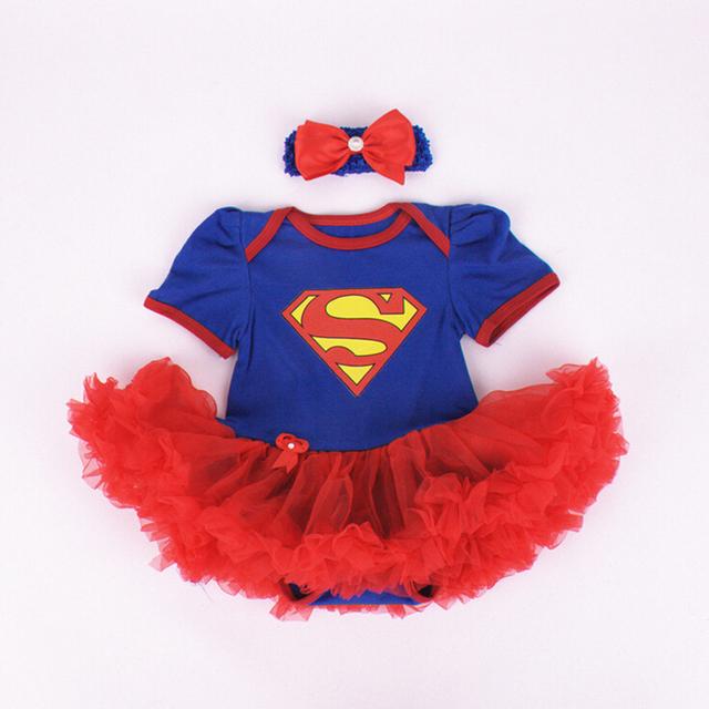 0-18 M do bebê meninas bodysuit super herói do corpo do bebê babador para bebês tutu vestido de festa de Natal bonito com headband Jumpsuit