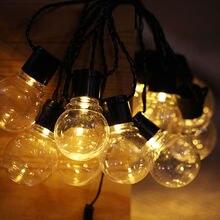Panel słoneczny struny światła 5m Festoon ślubne taśmy świetlne bajkowe oświetlenie Globe Garland wodoodporna ozdoby ogrodowa LED lights