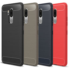 50pcs/LOT Luxury For LG G7 ThinQ TPU Case Brushed Carbon Fiber Anti-Shock Rugged TPU Rubber Case For LG G6 OK10(Hong Kong,China)