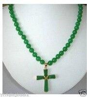 Bạc-đồ trang sức cổ bất thường Trang Sức 8 mét Green GEM Chữ Thập Pendant Necklace 18