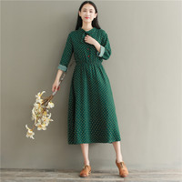 Dot Print Long Sleeve Stand Collar With Bow Elastic Waist Slim Cotton Casual Women Dress Autumn