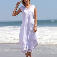 Women dress V-Neck Loose Casual Solid Color Lace elegant Sleeveless Beach Long Maxi Dress white belva women s maternity sleeveless solid maxi dress empire waist comfortable v neck ultra breathable bamboo fiber dr935