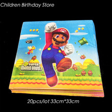 20pcs/pack Super Mario Bros disposable napkins Super Mario Bros birthday party decoration Super Mario Bros disposable tableware