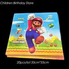 Servilletas desechables de Super Mario Bros, decoración de fiesta de cumpleaños, vajilla de Super Mario Bros, 20 unidades por paquete