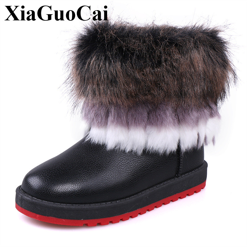 2017 Winter New Snow Boots Women Casual Shoes Warm with Fur Antiskid Ankle Boots Slip-on Flat Cotton Shoes Leather Boots H547 35 hee grand women snow boots winter flat panda pattern shoes woman fur cotton slip on snow ankle boots size 35 40 xwx4498