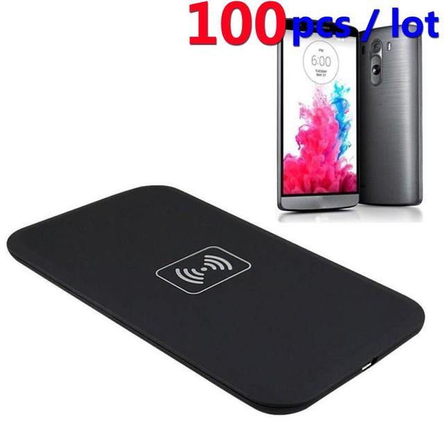 100PCS Qi Wireless Charger Charging Pad 100% Black Qi Wireless Charger  Charging Pad for LG G3 D851 D850 D855 F400 F460-in Wireless Chargers from