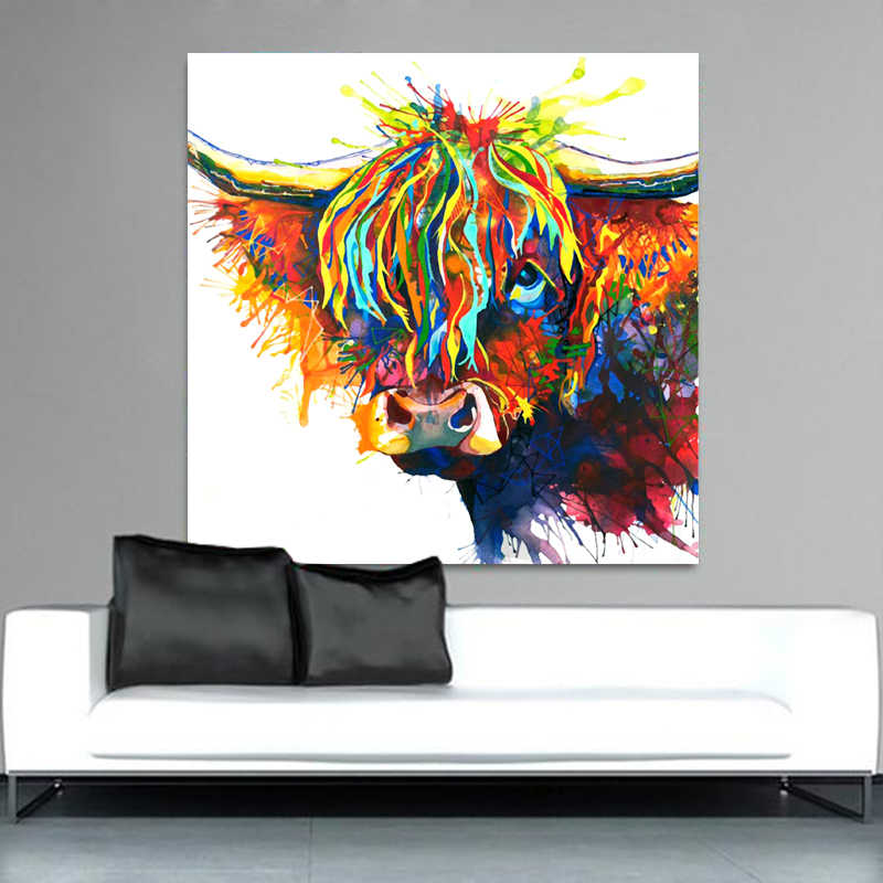 SELFLESSLY Colorful Highland Cow Animal Oil Painting Canvas Art Print Poster Print For Living Room Wall Decorative Pictures