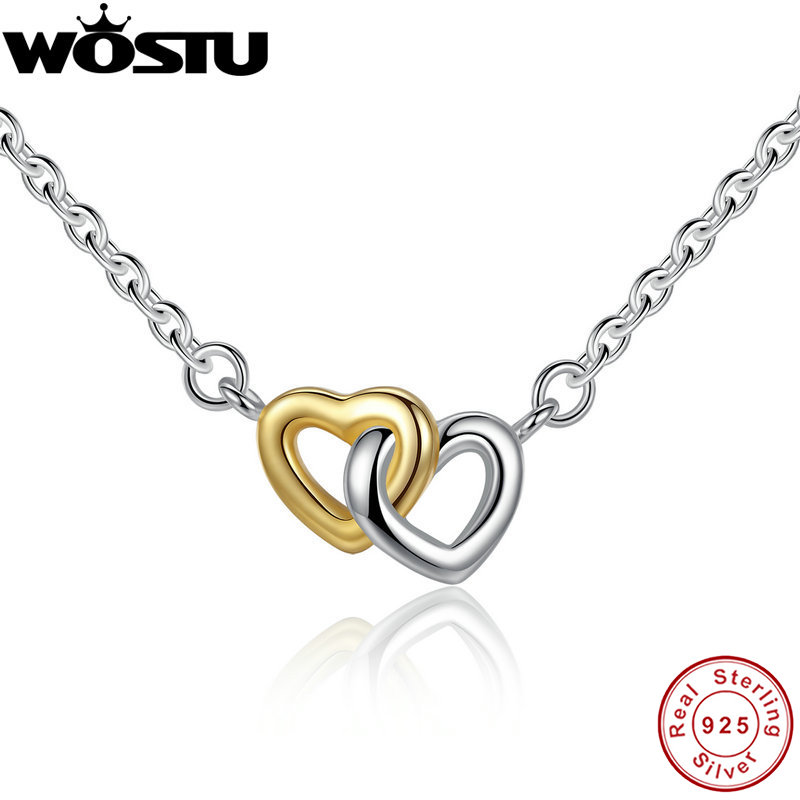 100% Real 925 Sterling Silver & Gold Color United in Love Heart Pendant Necklaces For Women Lady Original Jewelry Gift CRN011100% Real 925 Sterling Silver & Gold Color United in Love Heart Pendant Necklaces For Women Lady Original Jewelry Gift CRN011