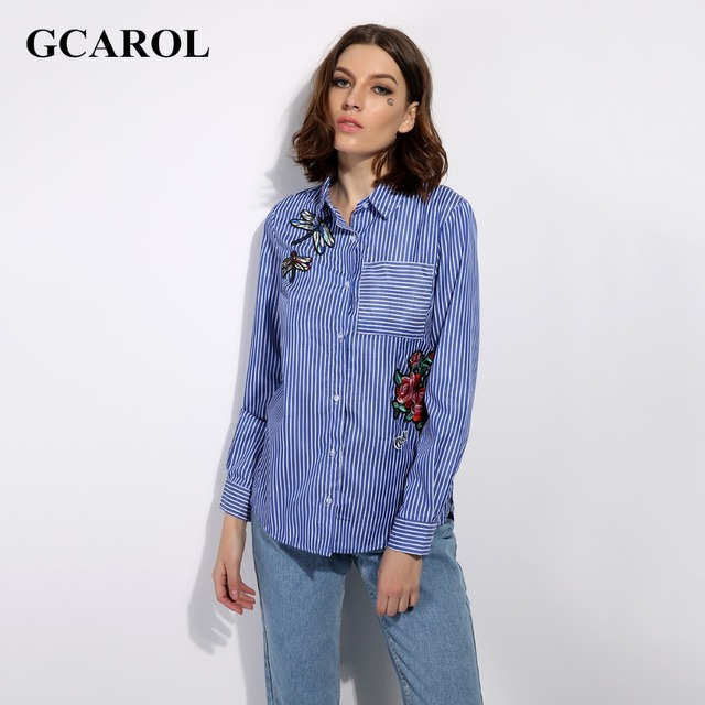 GCAROL 2017 Women New Floral Dragonfly Embroidery Shirt Asymmetric Length Blouse Fashion Casual Cotton Blends Tops For 4 Season