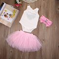 3PCS Baby Girl Heart Print Jumpsuit Romper Headband Ruffle Bloomers Outfit