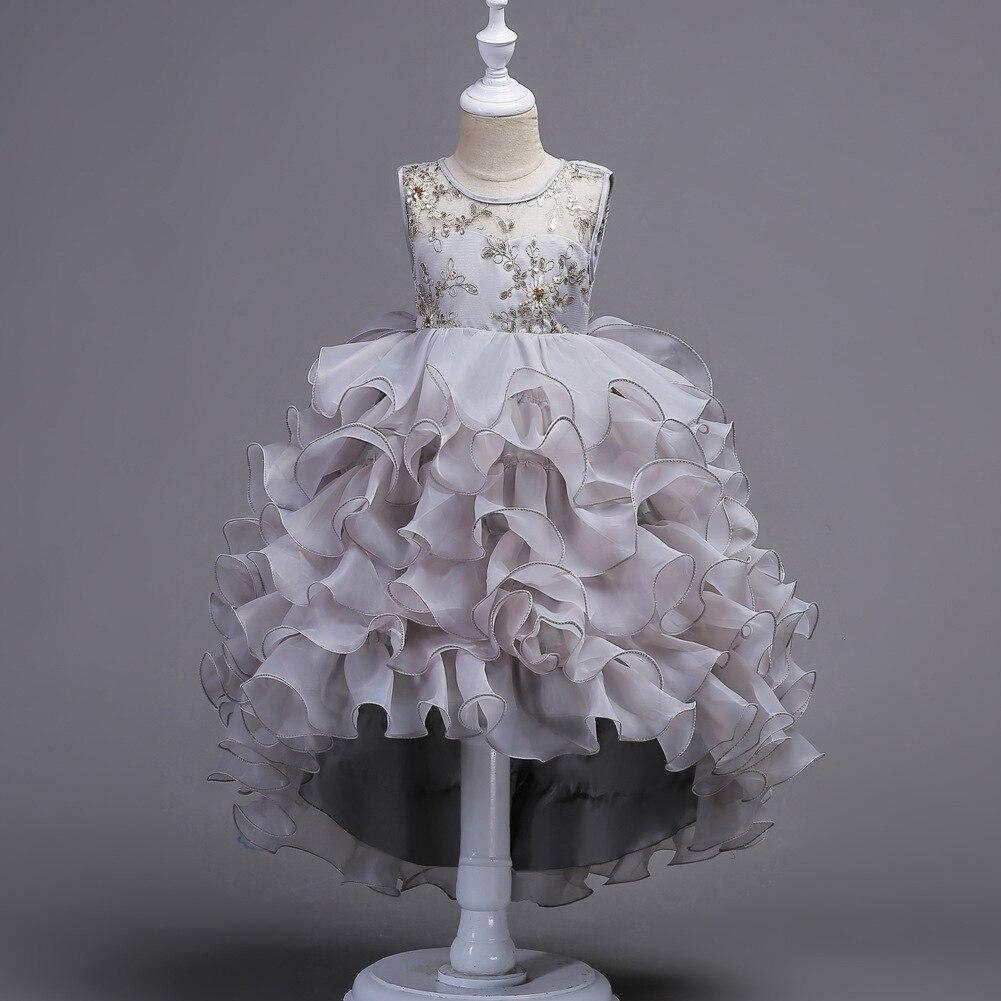 New Flower Girls Party Dress Floral Sequined Embroidered Formal Evening Wedding Girl Christmas Princess Ball Gown Kids Vestido вечернее платье mermaid dress vestido noiva 2015 w006 elie saab evening dress