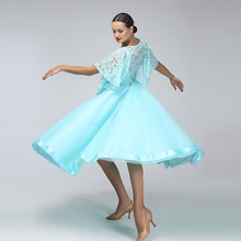 2018 blue lace ballroom dress women ballroom dance dress ballroom competition dress ballroom tango dresses fringe foxtrot dance
