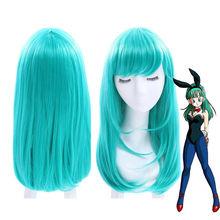 드래곤 볼 bulma 가발 45 cm 중간 긴 스트레이트 합성 머리 여자 의상 파티 f 가발 녹색 일본 애니메이션
