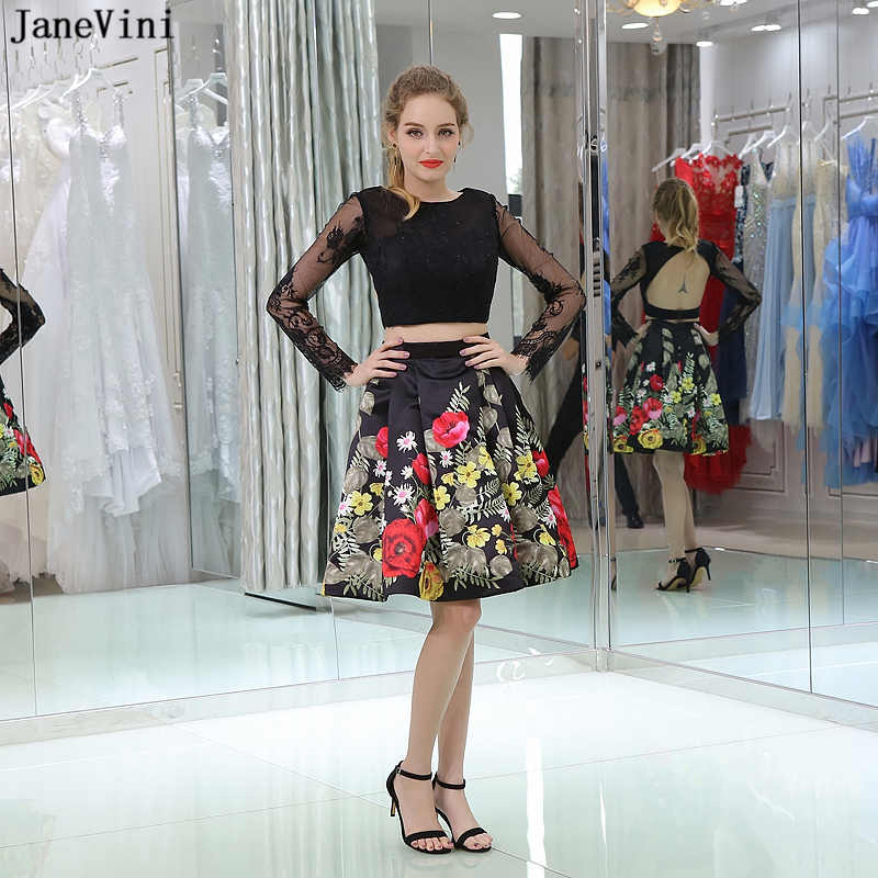 JaneVini Vintage Flowers Pattern Black 2 Pieces   Bridesmaid     Dresses   Lace Long Sleeves Scoop Neck Beaded Backless Mini Prom Gowns