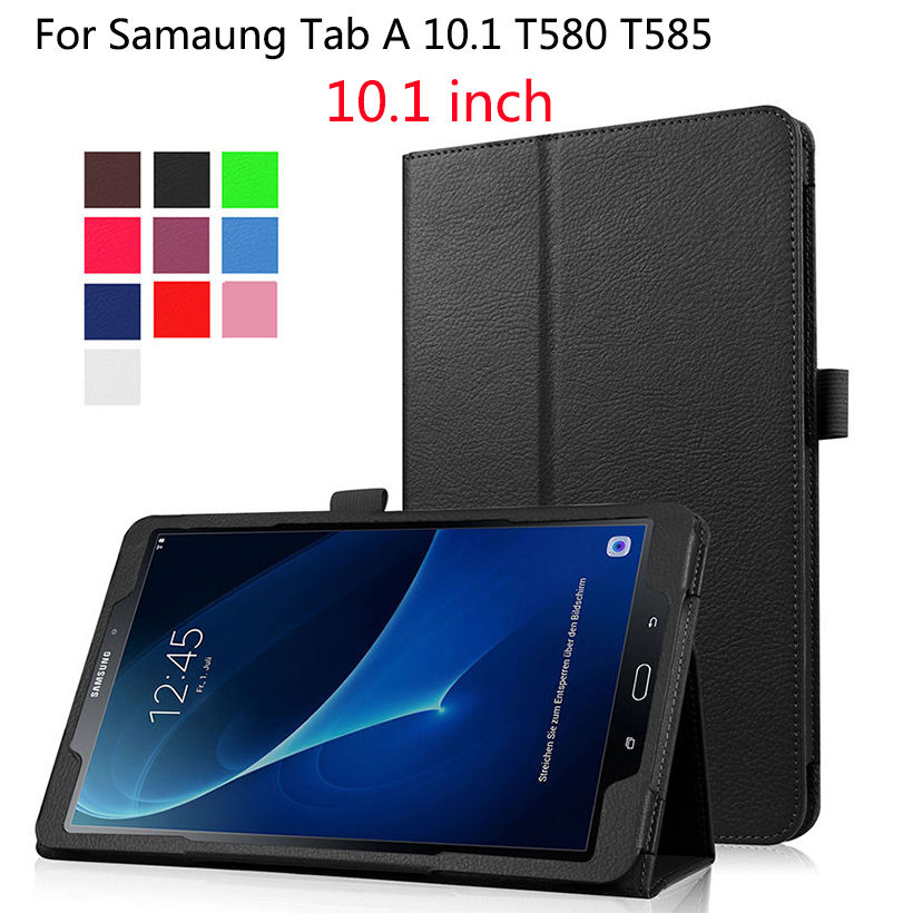 PU Leather Case For Samsung Galaxy Tab A 10.1 inch 2016 SM-T580 SM-T585 Cover Case Funda Tablet Flip Stand Protective Shell+pen наборы декоративной косметики poeteq промо набор 3 гель лака матовый тинт для губ