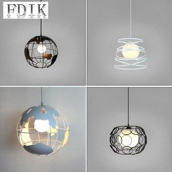 LOFT salle à manger pendentif lampes printemps fer net Art créatif décor pendentif lumières café Restaurant Bar E27 porte-lampe sans source de lumière