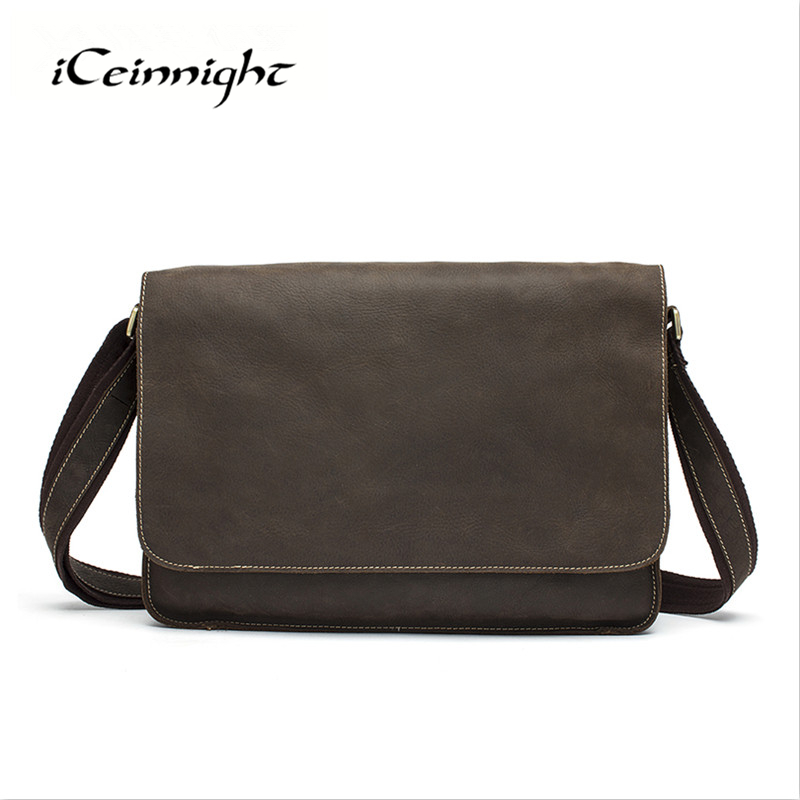 ФОТО iCeinnight Genuine Leather Men Messenger Bag Luxury Crazy Horse Leather Briefcase Bussiness Shoulder Crossbody Men Travel Bag