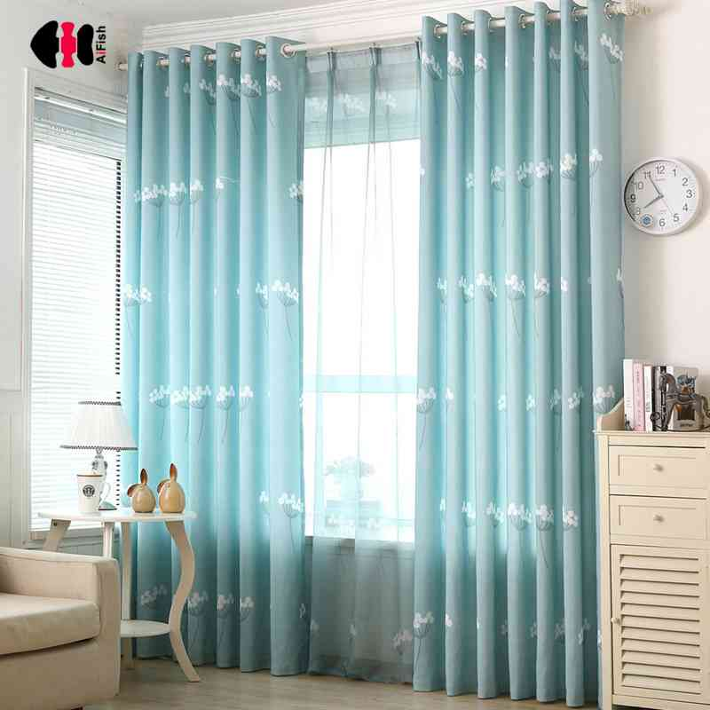Curtain Cute Living Room Valances For Your Home: Rustic Dandelion Printed Half Shading Curtains Living Room