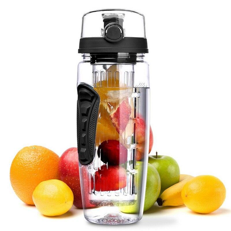 Urijk 34 oz 1000 ml En Plastique Fruits Infuseur Jus Shaker Sport Citron Bouteille D'eau Tour Randonnée Portable Verres Bouteilles B livraison