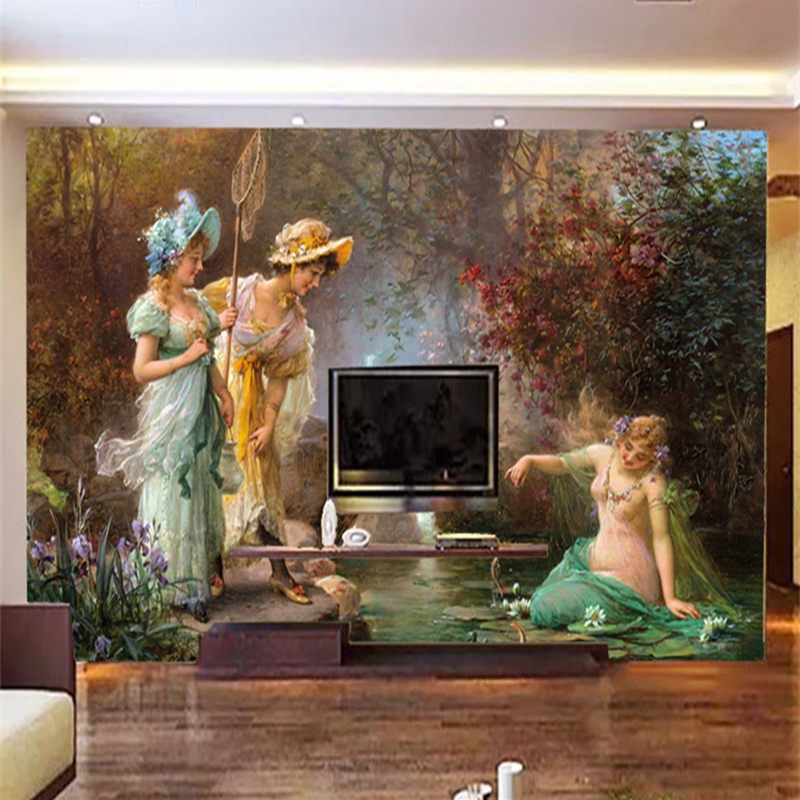 Wallpapers Photo Retro Custom European Oil Painting Character Landscape Large Size Tv Sofa Background Hotel Decoration Mural