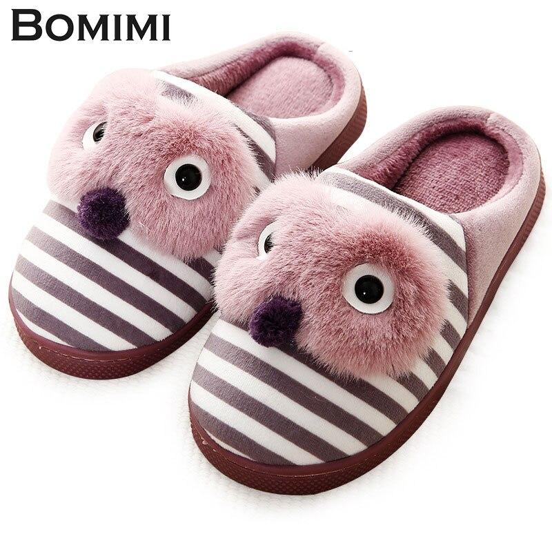 BOMIMI Children Slippers Kids Slippers Indoor Child Slip-on Boys Girls Household Cotton Shoes Floor Bedroom Warm Slippers QWRE5