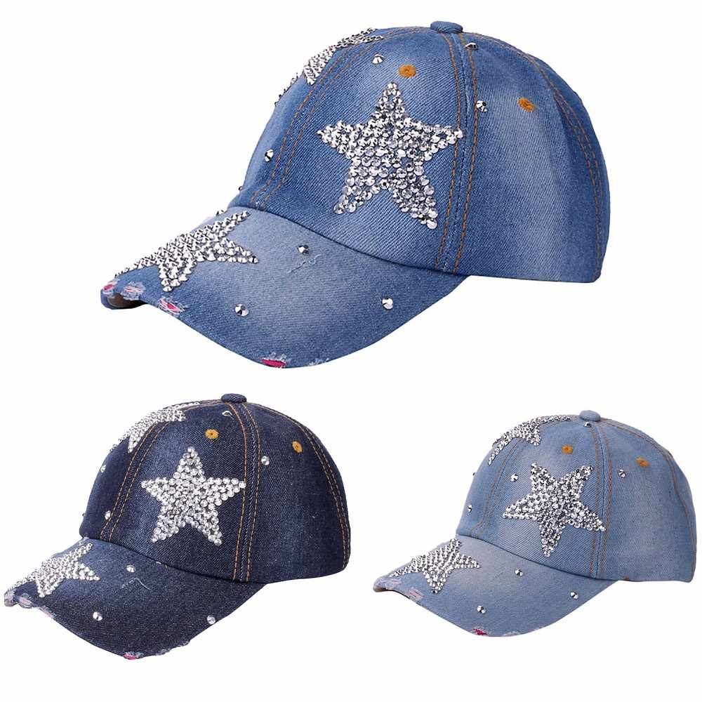 Women's adjustable five-pointed star baseball cap ladies fashion casual rhinestone denim baseball mesh hat casquette femme