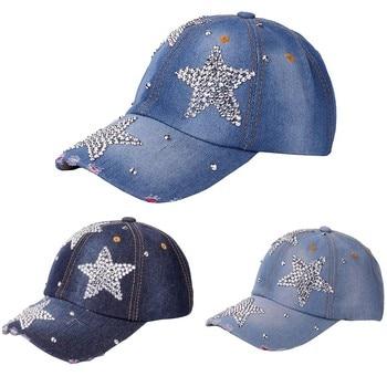 Women's adjustable five-pointed star baseball cap ladies fashion casual rhinestone denim baseball mesh hat casquette femme