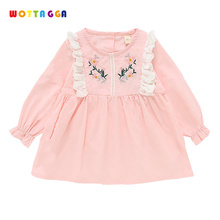 WOTTAGGA 2019 Girls Spring Dress Long Sleeve Cotton Soft Flower for Big Princess New Holiday Clothing