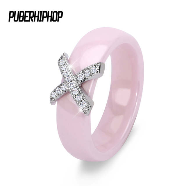 2018 Romantic Pink Rings For Woman 6mm CZ X Cross Ring Ceramic Jewelry anillos m