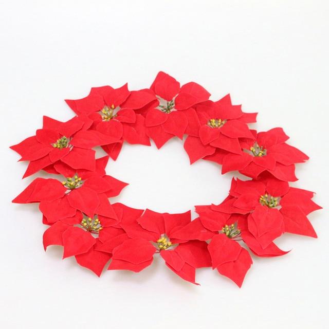 Flone Silk Artificial Christmas Flower Simulation Flannelette Red
