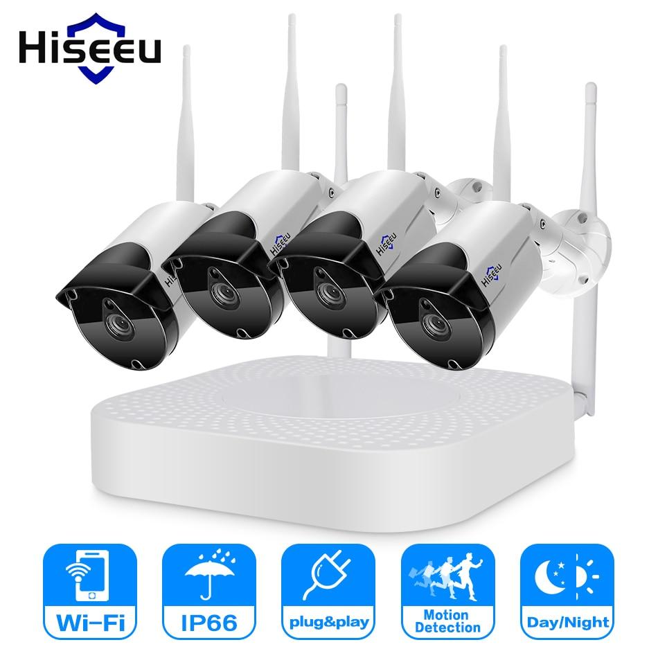 Hiseeu 4CH Wireless NVR 960P WIFI CCTV System1.3MP IP Camera IR-CUT Bullet CCTV Camera Security System Surveillance Kits цена