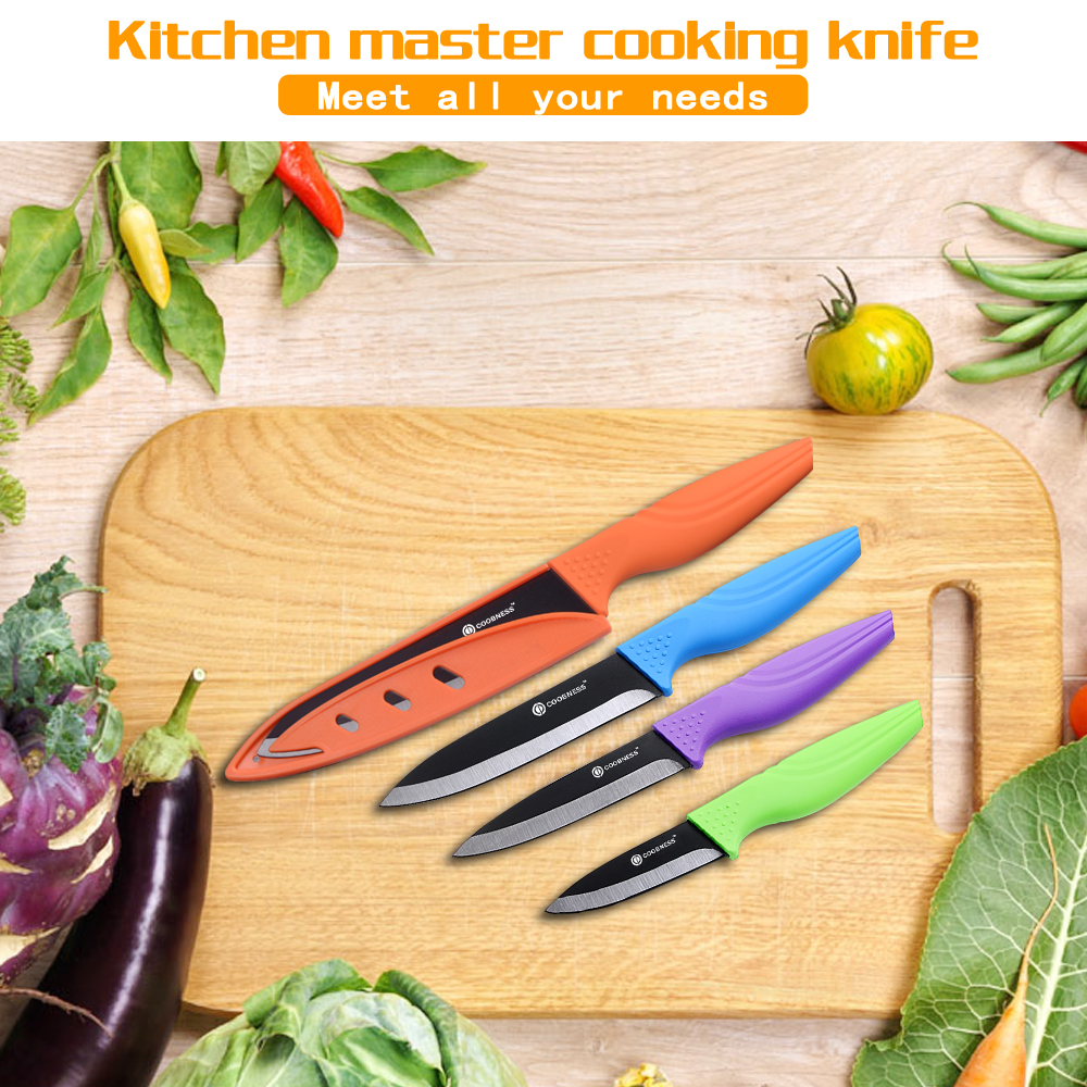 COOBNESS High Quality Black Blade Ceramic Knife 6 Piece Set 3 quot 4 quot 5 quot 6 quot Kitchen Knife With Knife Sharpener Peeler Birthday Gift in Kitchen Knives from Home amp Garden