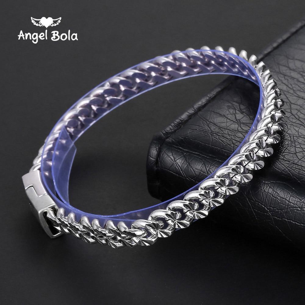Gothic Men Ancient Silver Bracelet Retro Fashion Punk Rock Style Cool Flower Pattern Buddha Bracelet Man Jewelry,