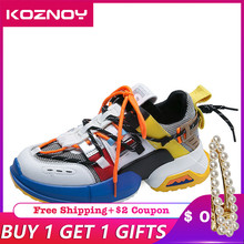 Koznoy Sneakers Women Trendy Chunky Dad Shoe Dropshipping Laces Platform Shoes New Color Matching Chaussures Autumn