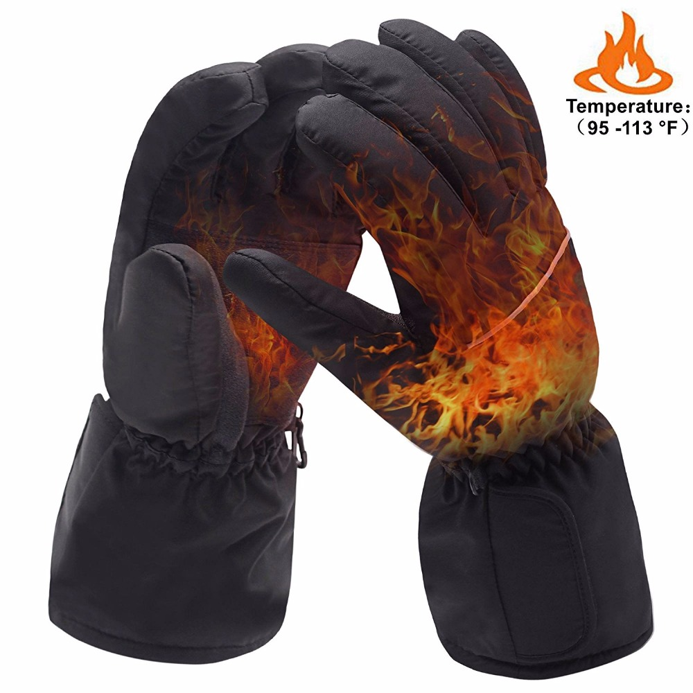 Winter Warm Waterproof Electric Battery Heated Rechargeable Gloves Heating Cycling Thermal Gloves Unisex Men Women